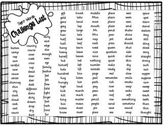 4th grade: Sight Words - Challenge List