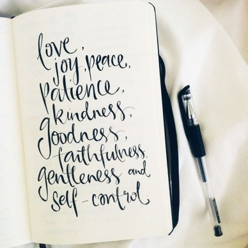 love, joy, peace, patience, kindness, goodness, faithfulness, gentleness and self control