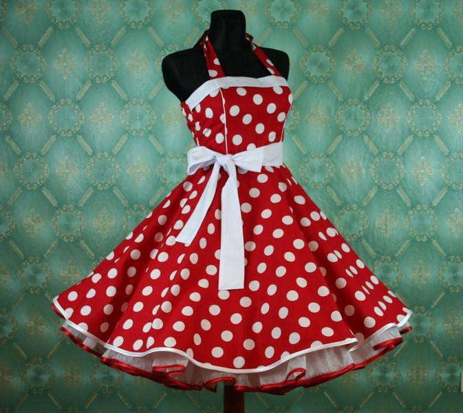 50er Jahre Petticoat Kleid Polka Dots rot weiß #24