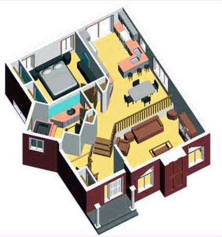 Plano de casa amplia de 85 m2 y 1 dormitorio planos de for Planos de casas 3d