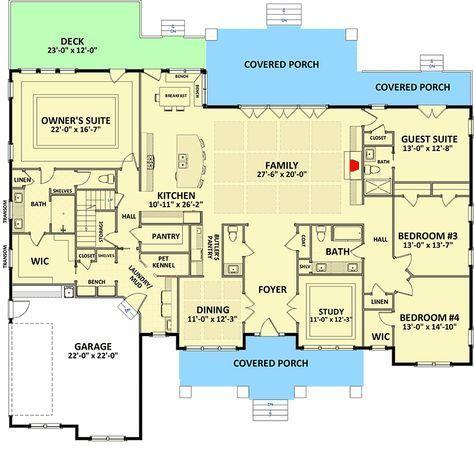 Handsome and Spacious Craftsman House Plan - 46309LA   1st Floor Master Suite, Bonus Room, Butler Walk-in Pantry, CAD Available, Corner Lot, Craftsman, Den-Office-Library-Study, Northwest, PDF, Split Bedrooms   Architectural Designs