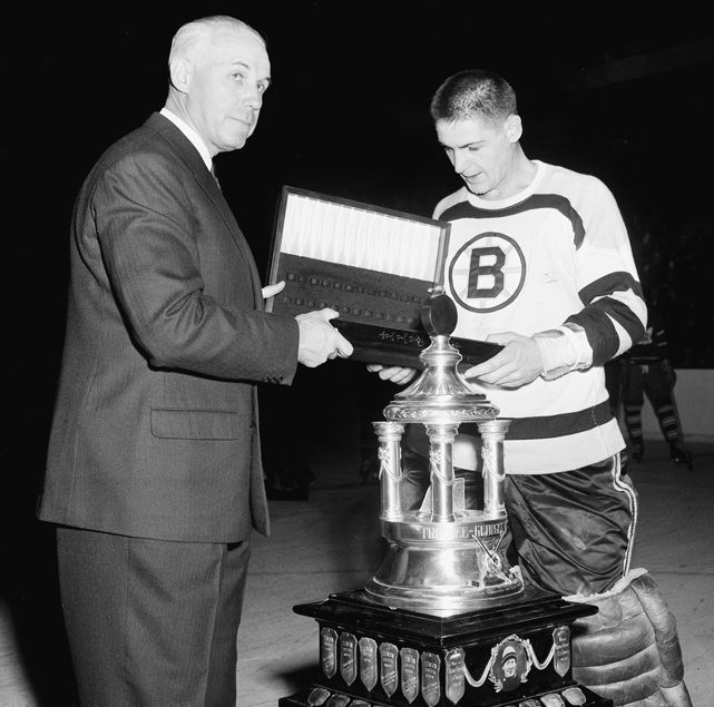 Terry Sawchuk, Boston Bruins -- he won the Vezina for his 40 wins and 1.96 GAA as a Red Wing the previous year (1954-55).