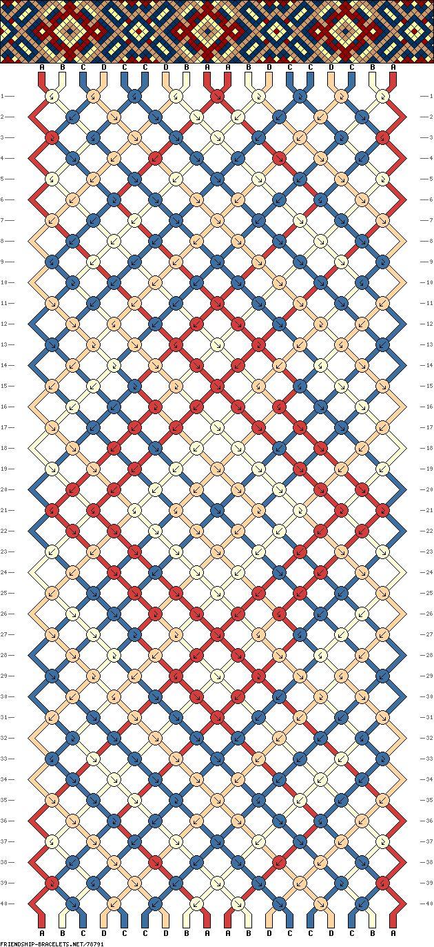 Friendship bracelet pattern - 18 strings, 4 colors - diamond, dots, cross, rectangle