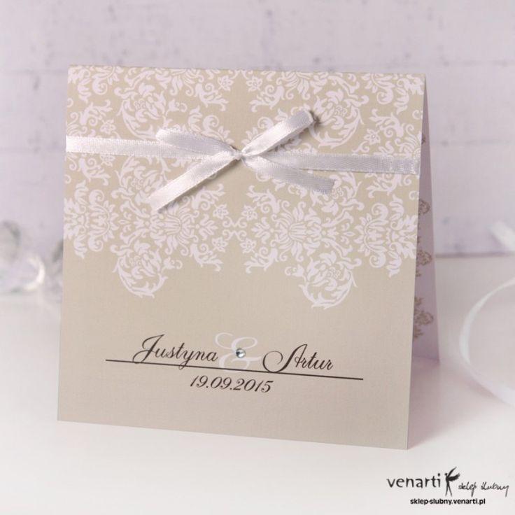Zaproszenie ślubne rustykalne ze wstążką.