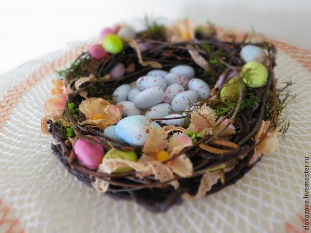 Пасхальный венок - очень популярный атрибут пасхи, который символизирует солнце, являющееся источником бесконечной жизни на земле! Мы сделаем венок из веток с помощью бумаги и каркаса, декорируем мхом, цветами, бусинами, кружевами и яйцами! Наш веночек будет символизировать гнездо, где тепло и уютно и где зарождается новая жизнь! Итак, для яиц мне понадобились материалы: паперклей, зубочистки и аэрозольная акриловая краска нежных тонов…