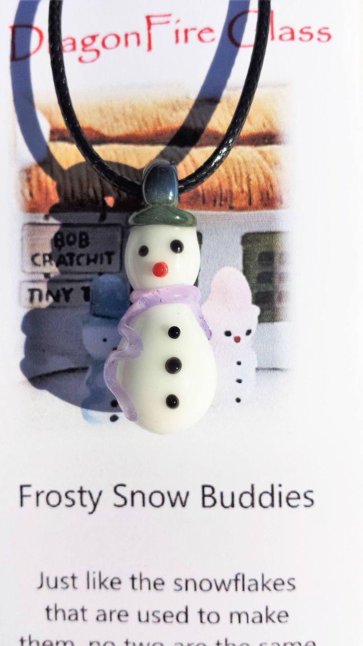 Snowman necklace - Frosty Snow Buddies - Blown glass snowman necklace - Winter - Frosty - Snowman Ornament - Frosty friends - Jewelry - Snow