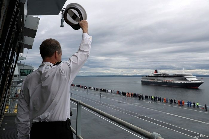 Cunard's Queen Elizabeth luxury cruise liner met HMS Queen Elizabeth for the first time earlier. The rendezvous of the two ships, that share the same name and who were both christened by The Queen, took place in the Moray Firth off the coast of Scotland during Queen Elizabeth's 13-night tour of the British Isles.