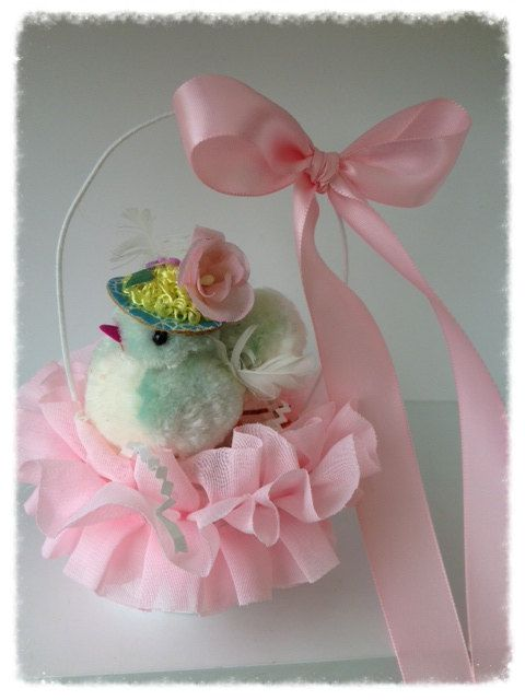 Vintage Pom Pom Chick in an Easter Basket by JeanKnee on Etsy,