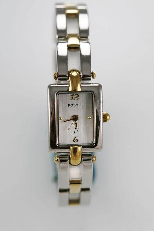 Fossil F2 Watch Womens Steel Stainless Gold Silver Water Resistant White Quartz