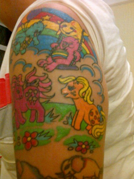 My new tattoo love my little pony and the care bears for New tattoo care