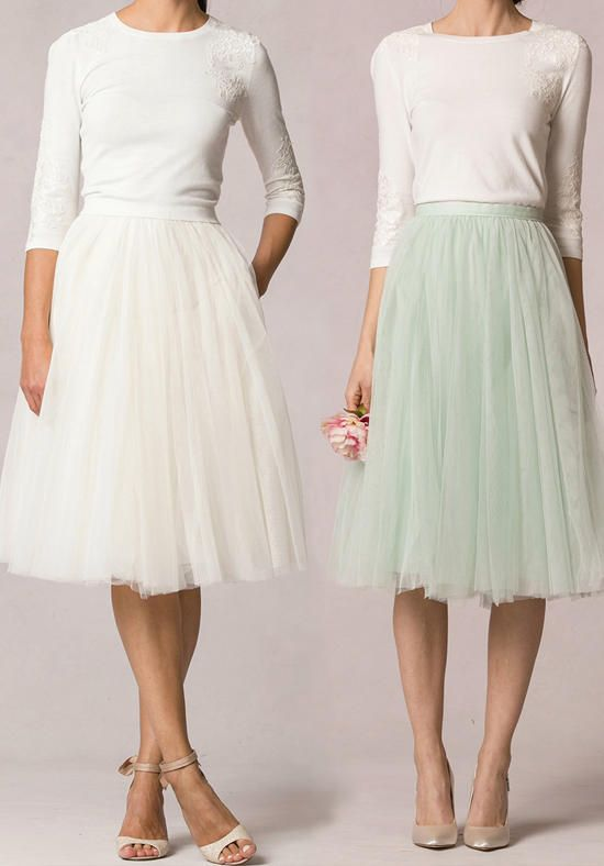 The Lucy skirt is a soft tulle, A-line, full and playful tea length skirt. The fitted waistband defines and accentuates the narrowest part of the waist for a flattering look. This fun skirt is extremely versatile and can be worn with any of our Jenny Yoo separate top and sweater options for a personalized look. This skirt is fully lined and has a center back invisible zipper. Available in sizes 0-24.