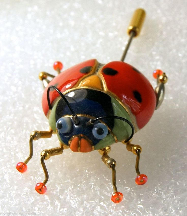 CYNTHIA CHUANG LADYBUG  Jewelry 10 Porcelain Stamped Stick Pin Brooch #Jewelry10