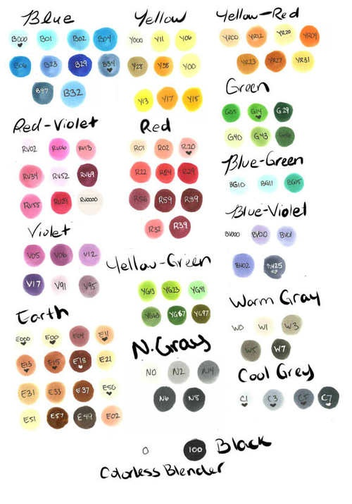 copic markers color chart | copic # copic marker # copic chart # color