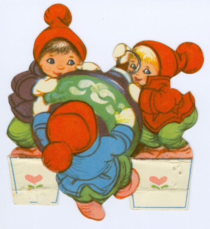 """DANISH Kravlenisser   ENGLISH Crawl Gnomes {Elves} by Iben Clante 1950s   TRANSLATE PLEASE? Et ark, som i tegnestil ligner det ovensstående. Også dette ark bærer titlen """"Kravlenisser""""."""