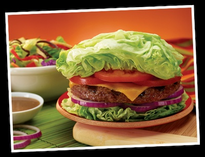 Gluten-free, grain-free Lettuce Wrap Burger at Red Robin - delicious! Creative use of lots of lettuce, cut to work like a bun, wrapped in Red Robin paper.
