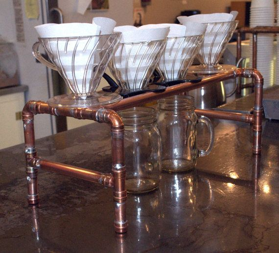 4 Station Steampunk Coffee Pour Over Stand by ElecGuitarBuilder