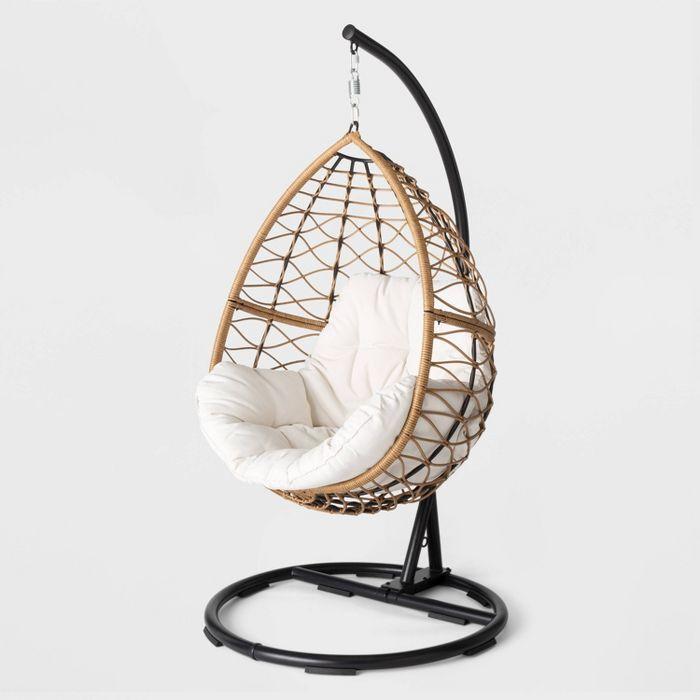 Britanna Patio Hanging Egg Chair Natural Opalhouse In 2020 Hanging Egg Chair Patio Swing Chair Egg Shaped Chair