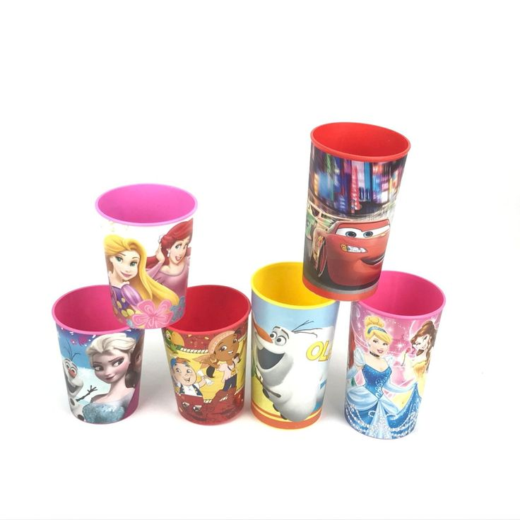Set Of 6 Disney Princesses Olaf Character Frozen Cars Red Pink Drinking Cups