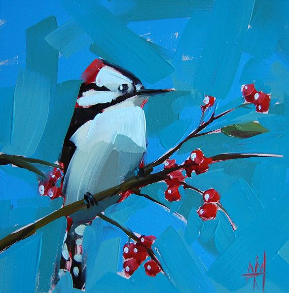 Downy Woodpecker original bird oil painting by Angela Moulton 8 x 8 inches on panel  prattcreekart