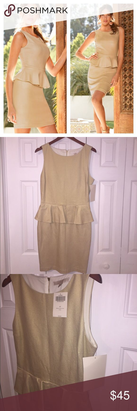 NWT Boston Proper Shimmer Peplum Dress A favorite silhouette, seamed for shaping in ponte with allover golden shimmer. Fully lined. Exposed back zip. Material is Rayon/nylon/. This dress is a pretty shimmering gold color, that you can accessorize so many ways. Boston Proper Dresses
