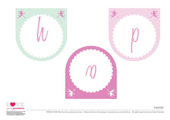 free printable fairy birthday party banner
