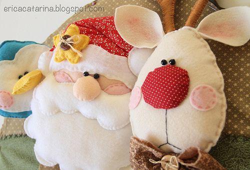 Santa & Rudolph couch pillows