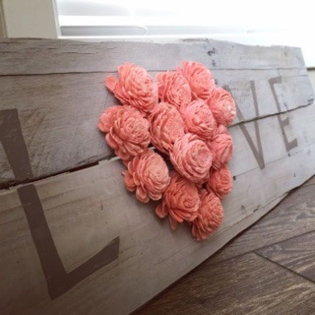 """Reclaimed Pallet Wood Sign - LOVE 38""""X11"""""""