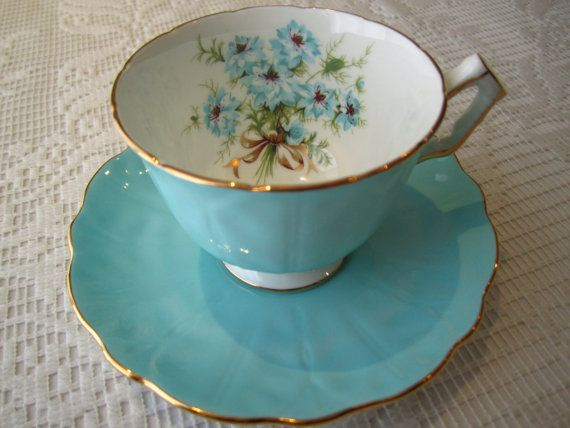 Aynsley Bone China Tea  Cup And Saucer Set England by WHSelection