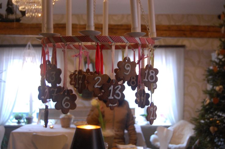 X-mas time in Loviisa, Finland. House Vackerbacka's ginger bread advent calendar hanging in the kitchen area. Great idea! Photo Johanna Blåfield.