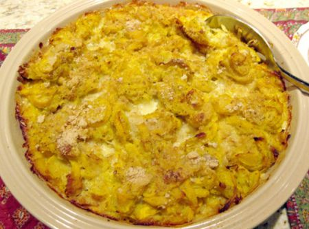 Southern Squash Casserole Recipe - I like the recipe where you cook the squash, then combine  better.  This was a little watery. 8/10