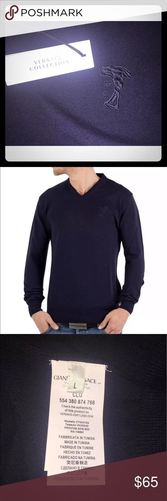 New Versace Collection V Neck Wool Sweater Versace Sweater Brand New With Tags 100% Authentic 100% Wool  Purchased this sweater from Nordstrom, on sale for $149.99.  Never wore it  Cleaning out my closet so everything has to go Versace Sweaters V-Neck