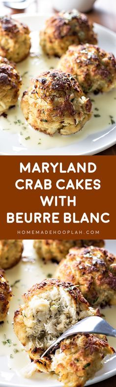 """Maryland Crab Cakes with Berrue Blanc! If you love the """"crab"""" in crab meat, then this is the recipe for you: minimal breading and a light sauce makes the crab meat the star of this dish.   HomemadeHooplah.com"""
