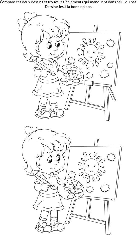 Jeu gratuit des différences, une fille qui peint