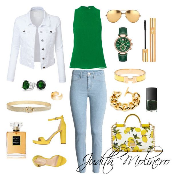 """""""Lemon and lime"""" by judith-molinero-fashion on Polyvore featuring Protagonist, Nine West, Dolce&Gabbana, Hermès, Bling Jewelry, LE3NO, Linda Farrow, Dutch Basics, Salvatore Ferragamo and Chanel"""