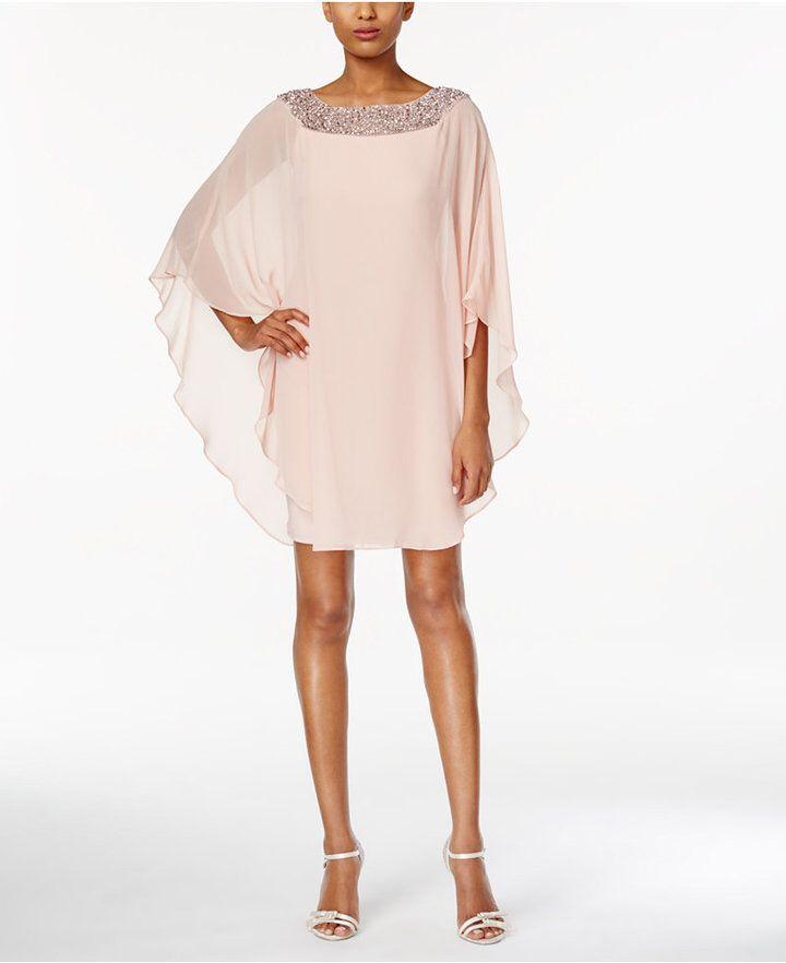 Xscape Embellished Chiffon Cape-Overlay Dress