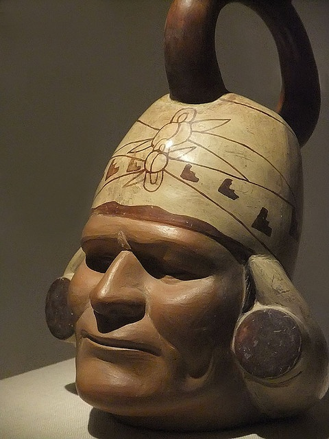 Portrait Vessel of a Ruler Moche Peru 100 BCE-500 CE Ceramic  Photographed at the Art Institute of Chicago, Chicago, Illinois.