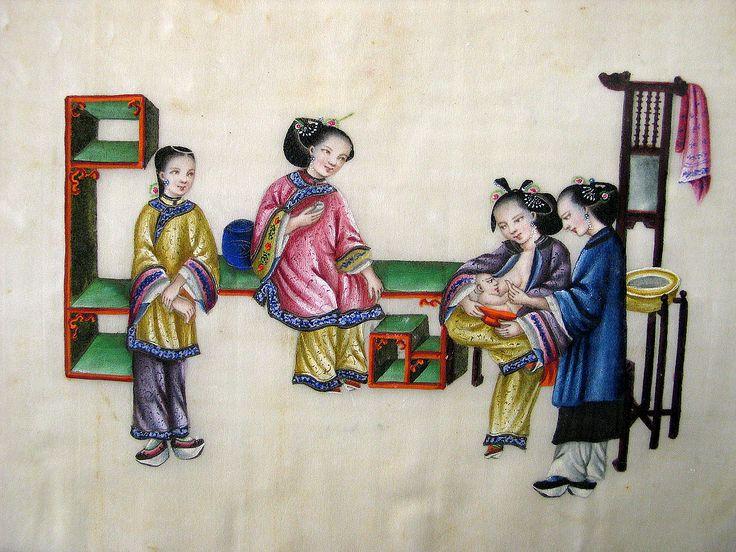 L'allattamento, album con pitture cinesi su carta di riso, Musei Civici di Reggio Emilia