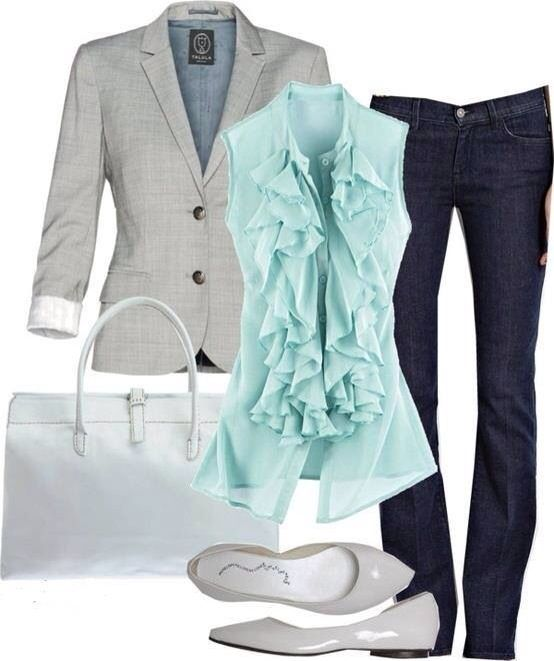Grey jacket, light blue gown, jeans, hand bag and shiny flats for ladies