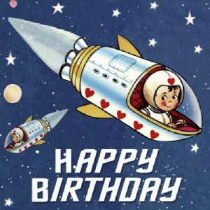 Retro Spaceboy Happy Birthday Card