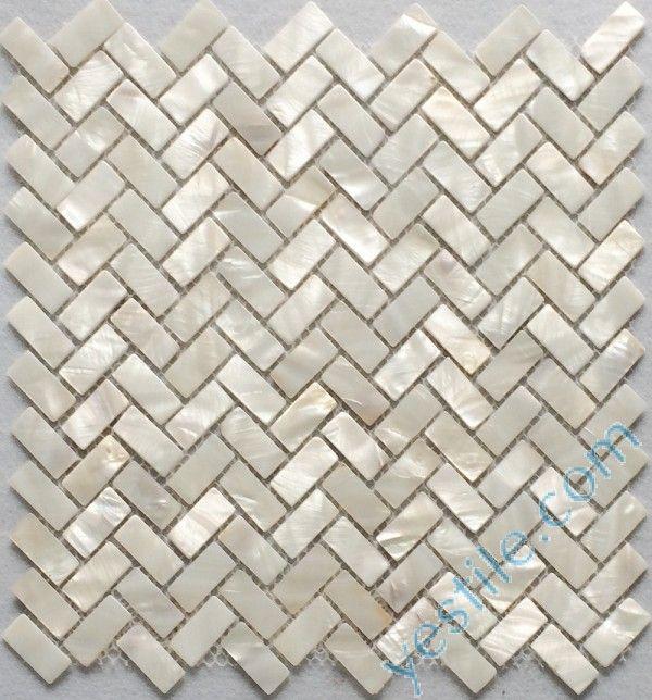 white herringbone mother of pearl tile