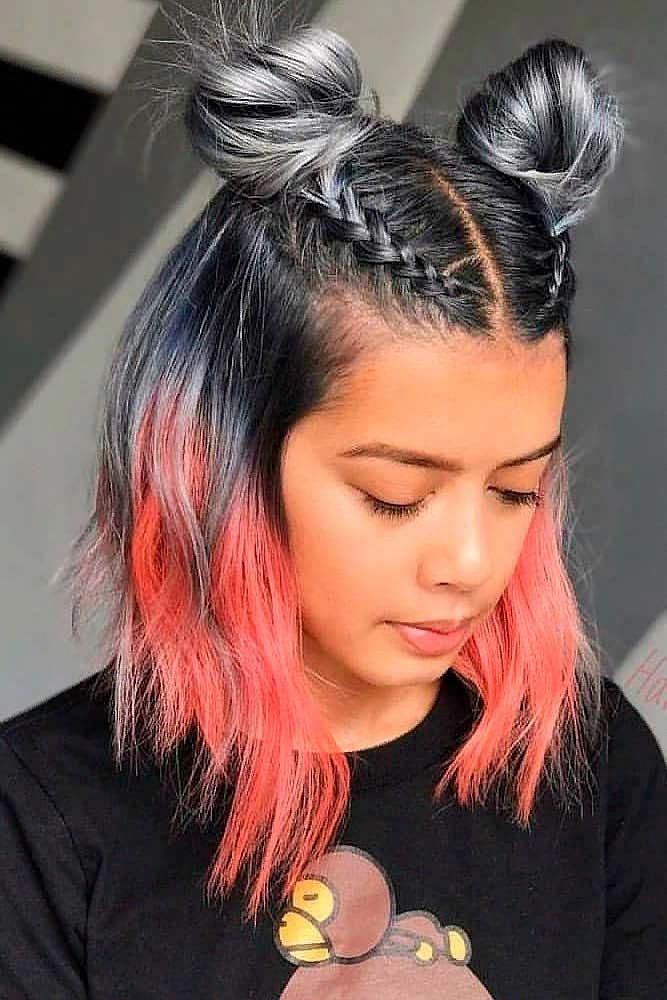 Two Braided Top Knots Braidedhairstyle Topknots Cute Hairstyles For Mediu Cute Hairstyles For Medium Hair Medium Hair Styles Cute Hairstyles For Short Hair