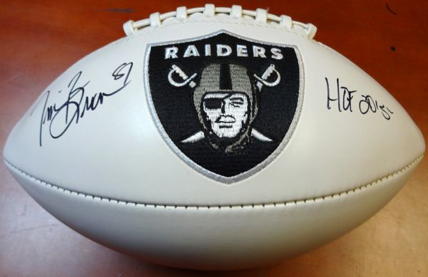 "Tim Brown Autographed Logo Football Oakland Raiders """"HOF 2015"""" PSA/DNA"