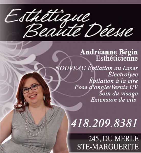 Salon d'esthétique situé au 245, rue du Merle à Ste-Marguerite. Adréanne Bégin est une esthéticienne professionnelle qui vous offre plusieurs services de qualités tel que l'épilation au laser, électrolyse et à la cire, pose d'ongles soins visage etc.