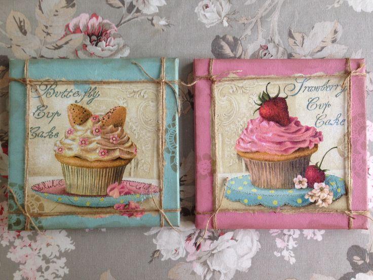 Cupcake, duocanvas, servetten plakken, schilderij