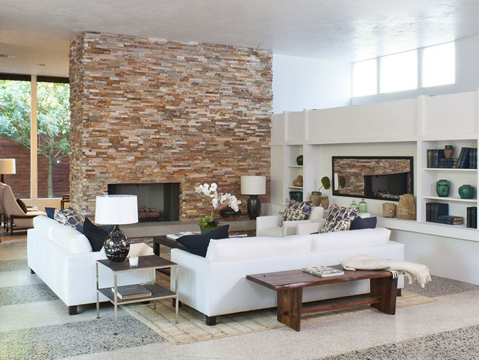 William Stevenson House in Beverly Hills: Dreams Houses, Houses For Sales, Stephenson Houses, Brick Wall, Brick Fireplaces, Living Room, Interiors Design, Fireplaces Wall, Beverly Hill