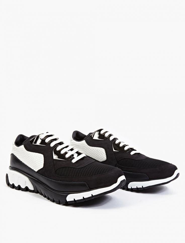 Neil Barrett,Neil Barrett Fake Snakeskin Sneakers,BLACK,0