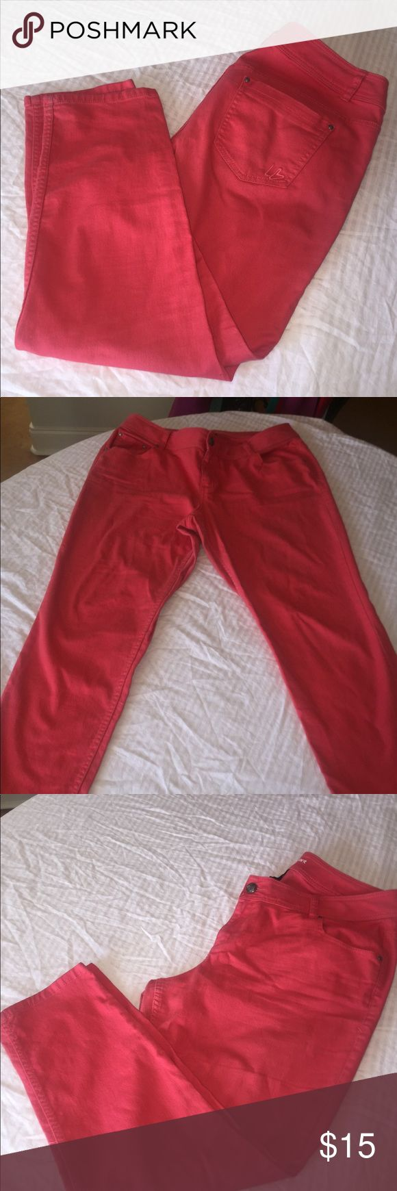 Coral Skinny Jeans Coral Skinnies! These are very comfortable and so on trend! Lane Bryant Jeans Skinny