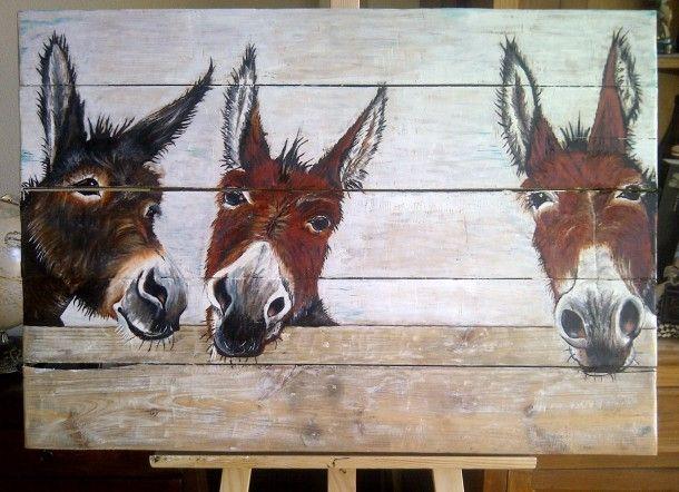 Leuke ezels op oud hout geschilderd