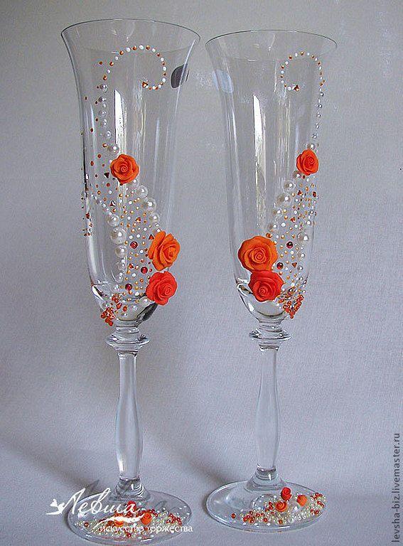 """Купить Свадебные бокалы """"Оранжевый сон"""" - оранжевый, свадебные бокалы, свадебные аксессуары, свадебный подарок"""