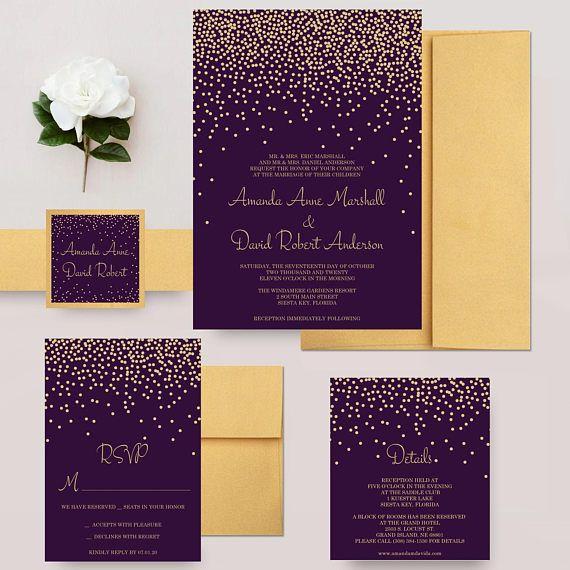Gold And Purple Wedding Invitations Faux Glitter Confetti Invites